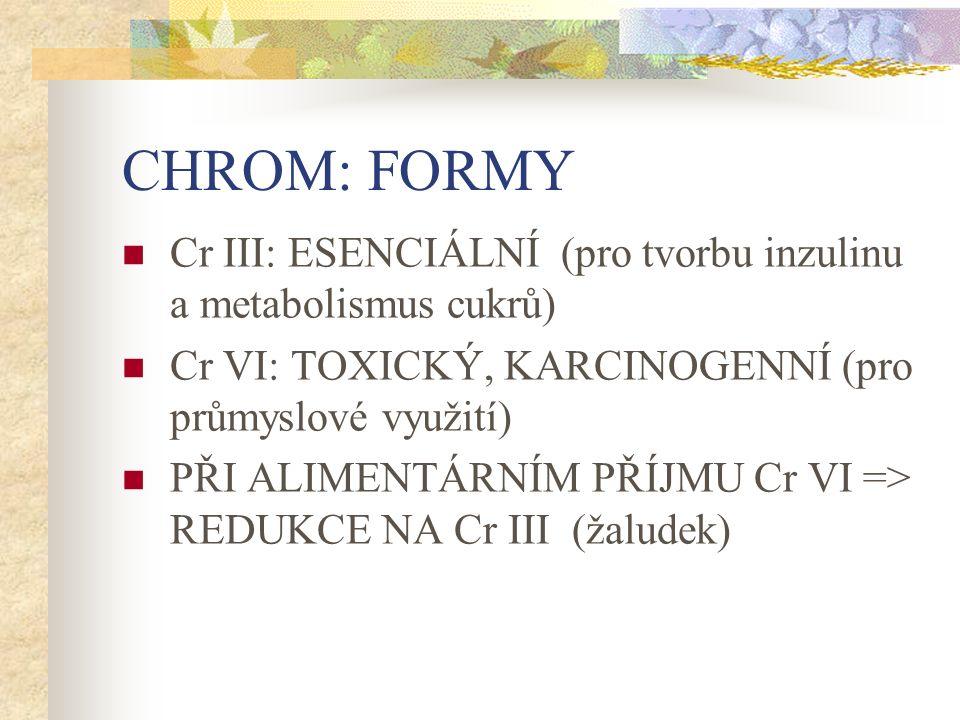 CHROM: FORMY Cr III: ESENCIÁLNÍ (pro tvorbu inzulinu a metabolismus cukrů) Cr VI: TOXICKÝ, KARCINOGENNÍ (pro průmyslové využití) PŘI ALIMENTÁRNÍM PŘÍJMU Cr VI => REDUKCE NA Cr III (žaludek)