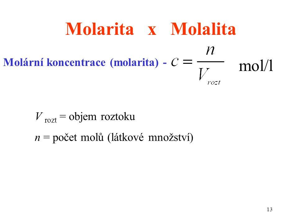 13 Molarita x Molalita Molární koncentrace (molarita) - mol/l V rozt = objem roztoku n = počet molů (látkové množství)