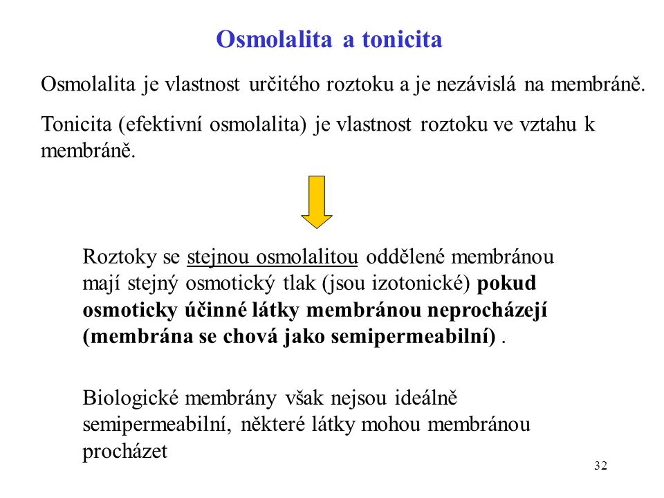 32 Roztoky se stejnou osmolalitou oddělené membránou mají stejný osmotický tlak (jsou izotonické) pokud osmoticky účinné látky membránou neprocházejí