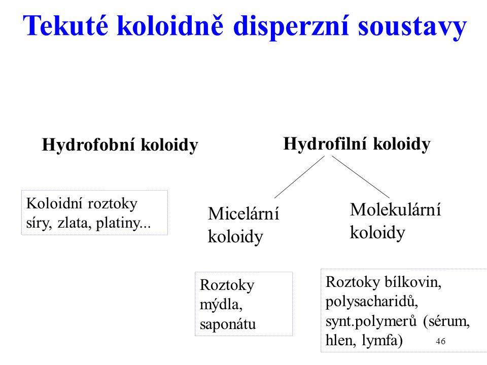 46 Hydrofobní koloidy Hydrofilní koloidy Micelární koloidy Molekulární koloidy Koloidní roztoky síry, zlata, platiny... Roztoky mýdla, saponátu Roztok