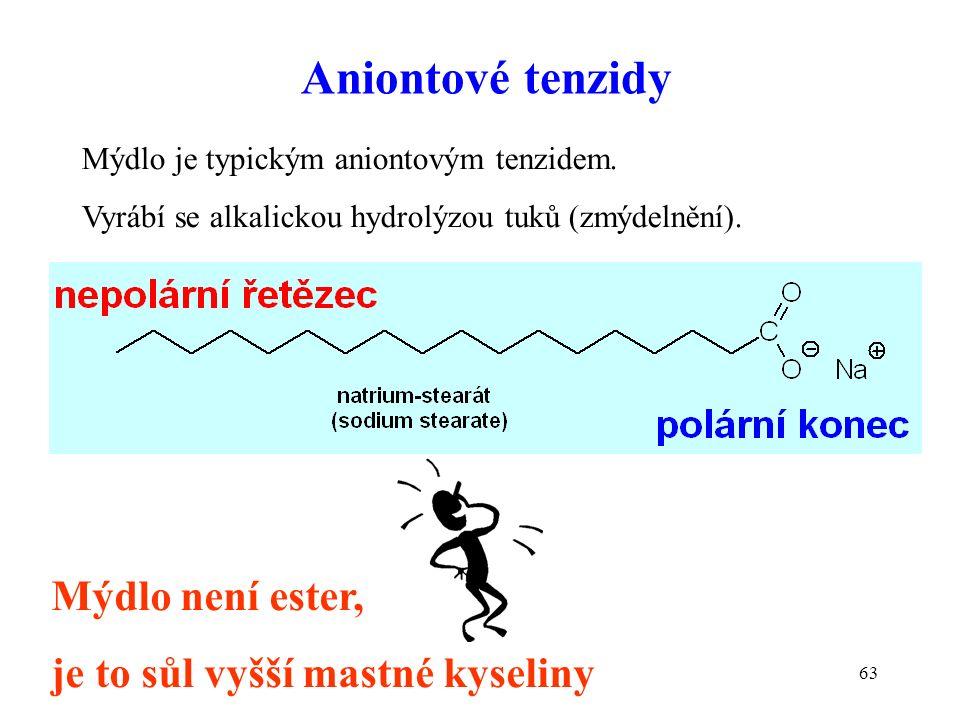 63 Aniontové tenzidy Mýdlo je typickým aniontovým tenzidem. Vyrábí se alkalickou hydrolýzou tuků (zmýdelnění). Mýdlo není ester, je to sůl vyšší mastn