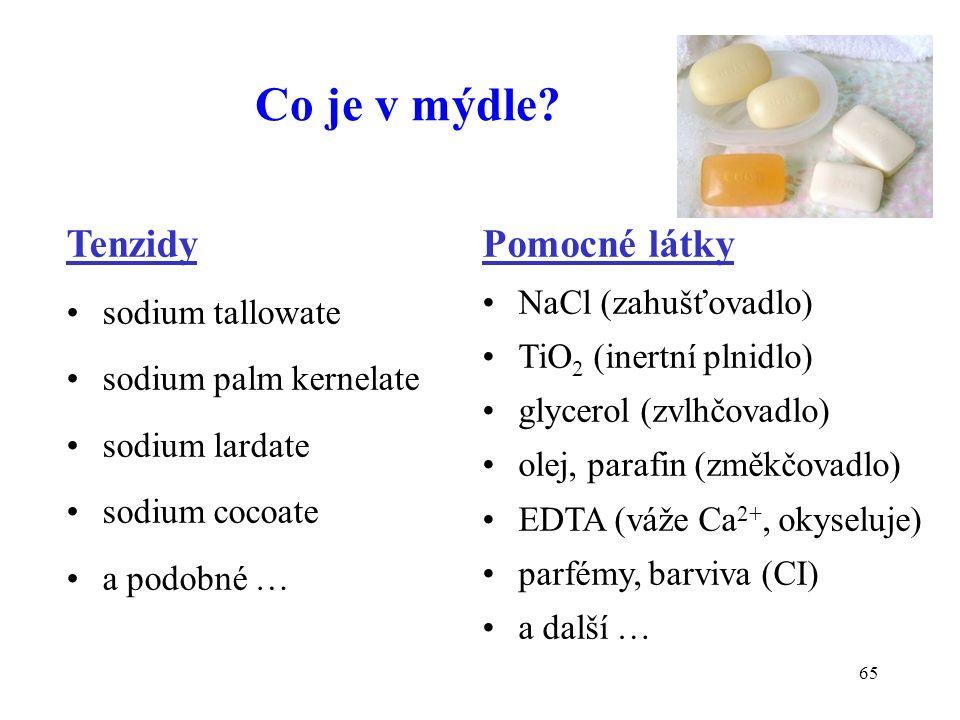 65 Co je v mýdle? Tenzidy sodium tallowate sodium palm kernelate sodium lardate sodium cocoate a podobné … Pomocné látky NaCl (zahušťovadlo) TiO 2 (in
