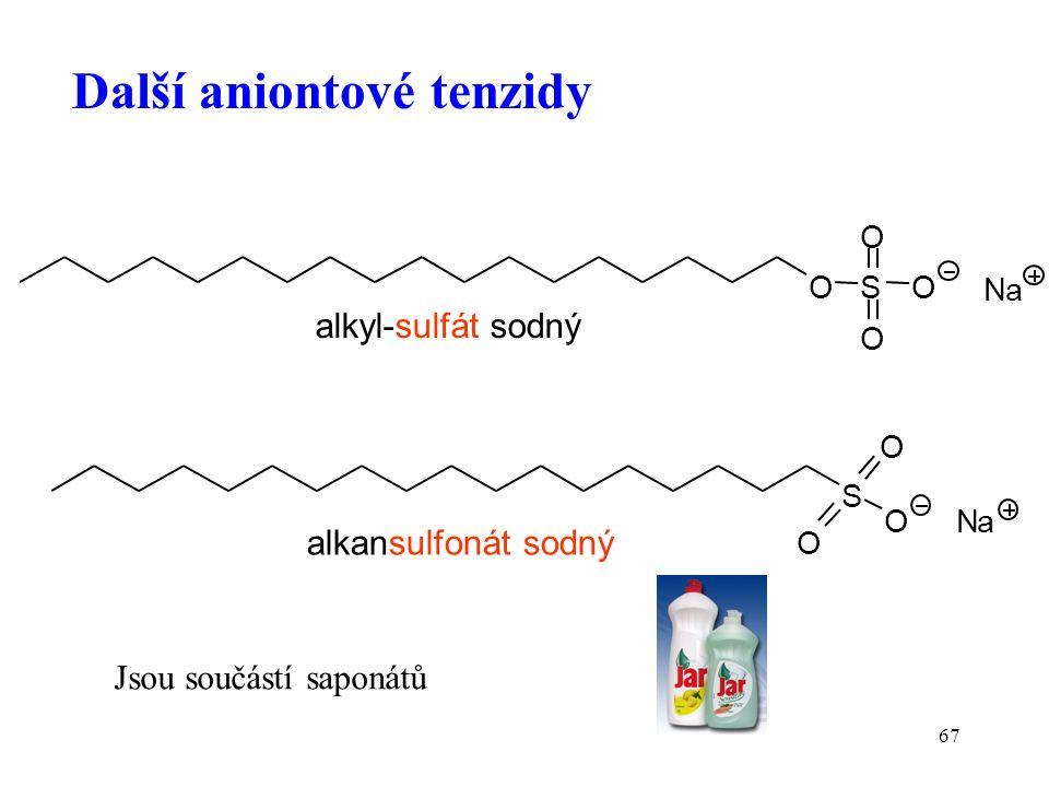 67 Další aniontové tenzidy Jsou součástí saponátů S O O O OS O O O alkyl-sulfát sodný Na Na alkansulfonát sodný