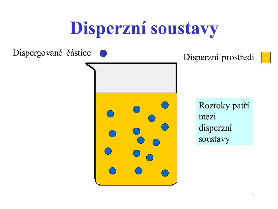 7 Disperzní soustavy Dispergované částice Disperzní prostředí Roztoky patří mezi disperzní soustavy