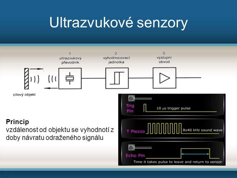 Ultrazvukové senzory Princip vzdálenost od objektu se vyhodnotí z doby návratu odraženého signálu