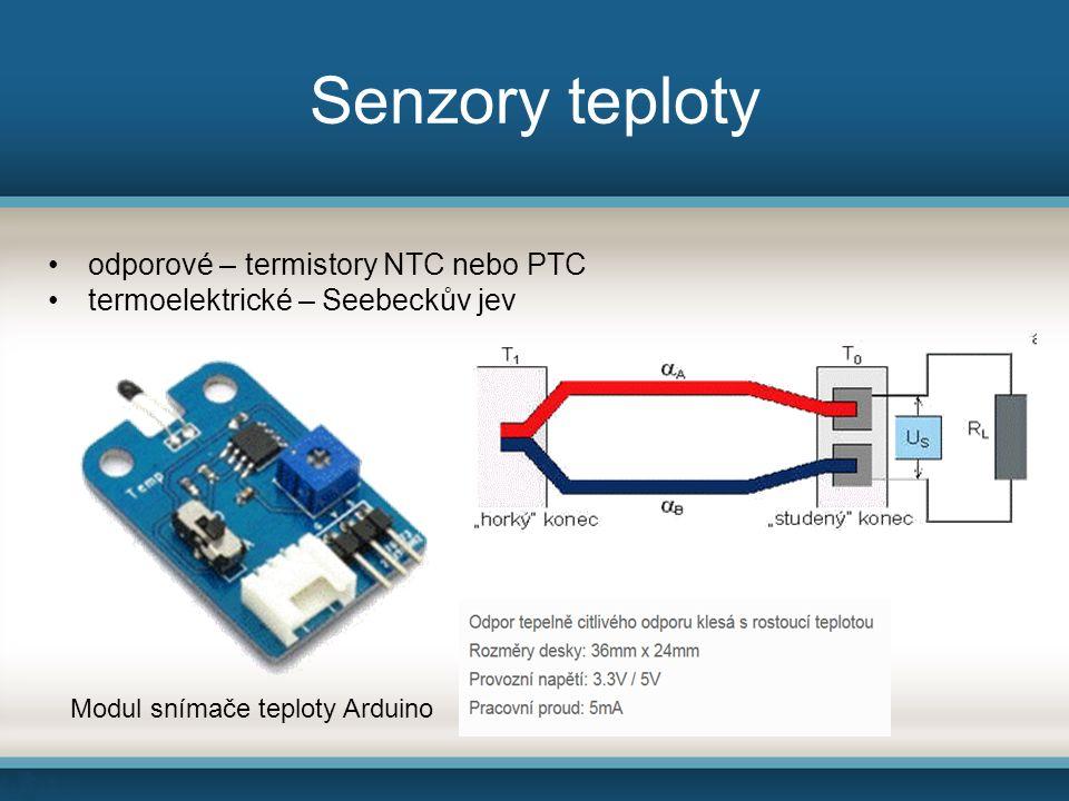 Akcelerometry Senzory citlivé na změny rychlosti pohybu (vibrace, náklon) Princip kapacitního akcelerometru – při akceleraci změna polohy desky kondenzátoru a tím i kapacity, kterou vyhodnocuje elektronika senzoru princip a modul akcelerometru Arduino