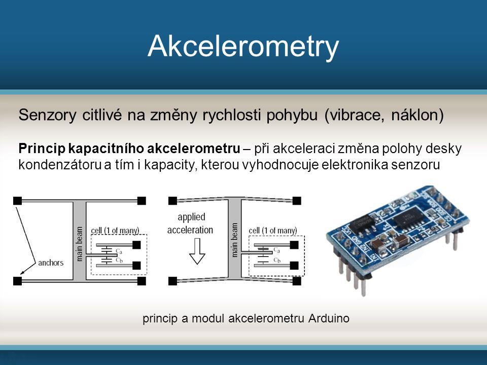 Akcelerometry Senzory citlivé na změny rychlosti pohybu (vibrace, náklon) Princip kapacitního akcelerometru – při akceleraci změna polohy desky konden