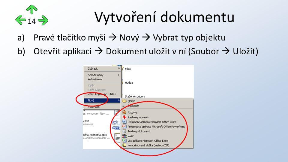a)Pravé tlačítko myši  Nový  Vybrat typ objektu b)Otevřít aplikaci  Dokument uložit v ní (Soubor  Uložit) Vytvoření dokumentu 14