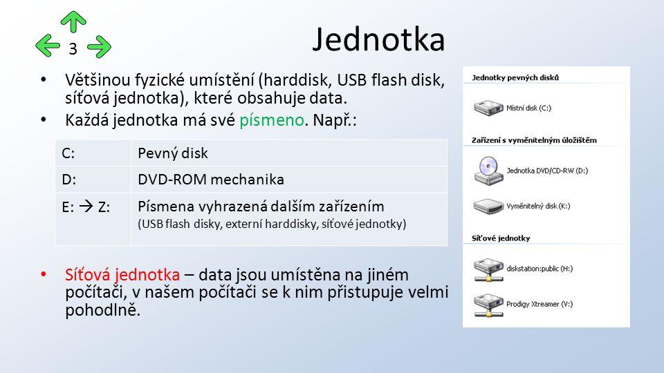Většinou fyzické umístění (harddisk, USB flash disk, síťová jednotka), které obsahuje data. Každá jednotka má své písmeno. Např.: Síťová jednotka – da