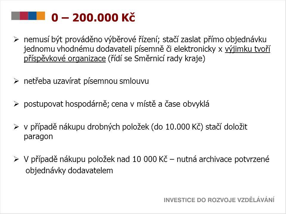 0 – 200.000 Kč  nemusí být prováděno výběrové řízení; stačí zaslat přímo objednávku jednomu vhodnému dodavateli písemně či elektronicky x výjimku tvoří příspěvkové organizace (řídí se Směrnicí rady kraje)  netřeba uzavírat písemnou smlouvu  postupovat hospodárně; cena v místě a čase obvyklá  v případě nákupu drobných položek (do 10.000 Kč) stačí doložit paragon  V případě nákupu položek nad 10 000 Kč – nutná archivace potvrzené objednávky dodavatelem