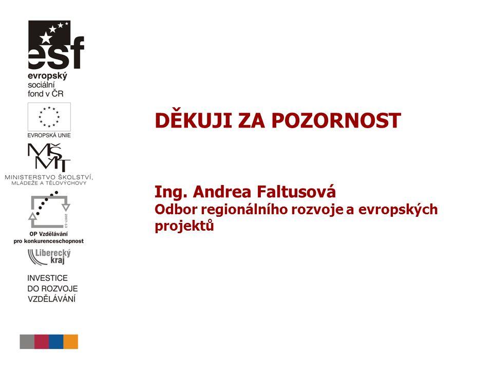 DĚKUJI ZA POZORNOST Ing. Andrea Faltusová Odbor regionálního rozvoje a evropských projektů