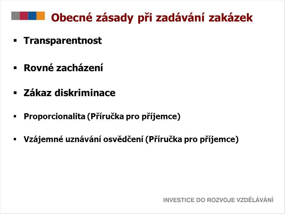 Obecné zásady při zadávání zakázek  Transparentnost  Rovné zacházení  Zákaz diskriminace  Proporcionalita (Příručka pro příjemce)  Vzájemné uznávání osvědčení (Příručka pro příjemce)