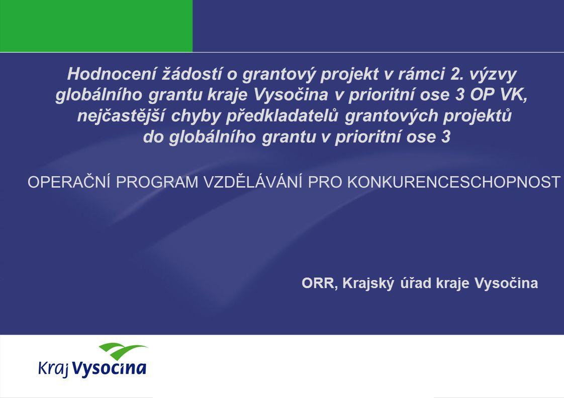 Vendula Hanzalová Hodnocení žádostí o grantový projekt v rámci 2.