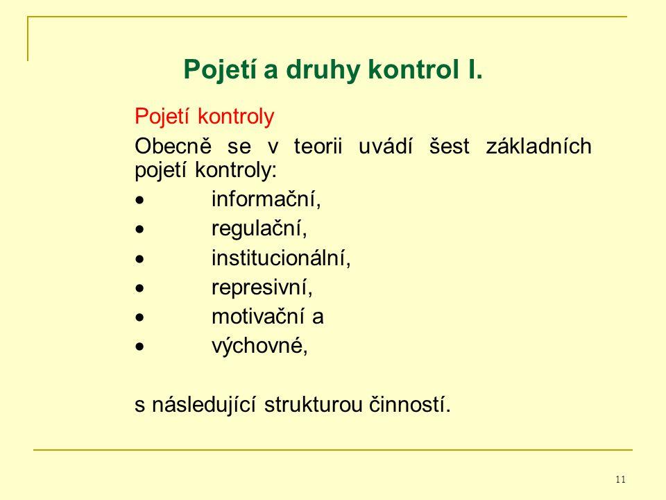 11 Pojetí a druhy kontrol I.