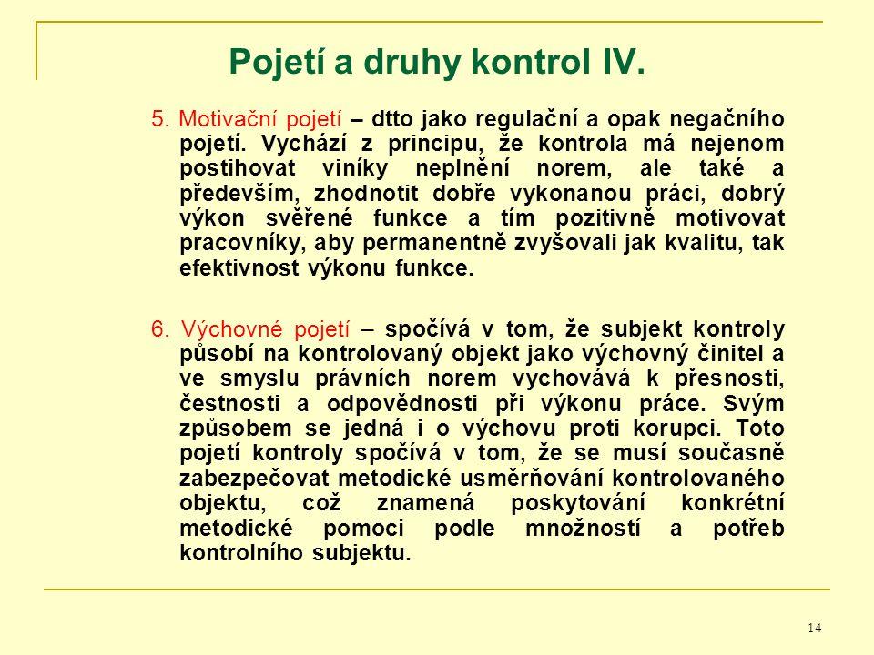 14 Pojetí a druhy kontrol I V. 5. Motivační pojetí – dtto jako regulační a opak negačního pojetí.