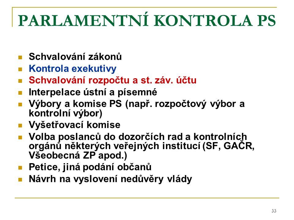 33 PARLAMENTNÍ KONTROLA PS Schvalování zákonů Kontrola exekutivy Schvalování rozpočtu a st.