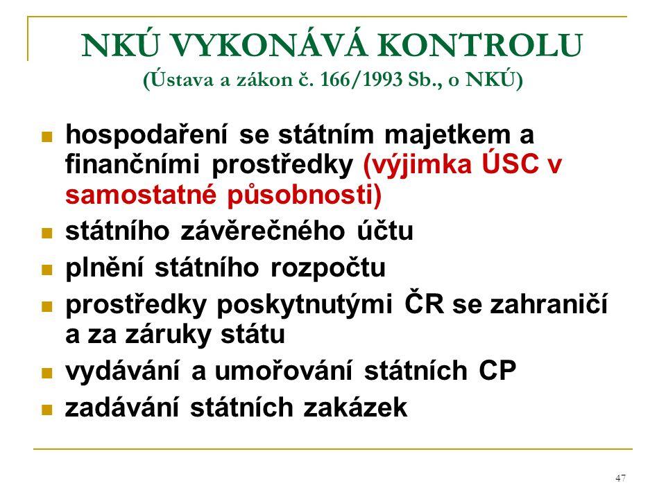 47 NKÚ VYKONÁVÁ KONTROLU (Ústava a zákon č.