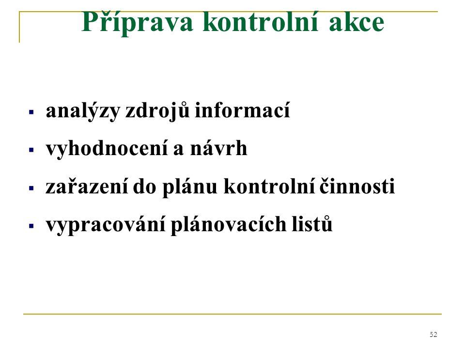 52  analýzy zdrojů informací  vyhodnocení a návrh  zařazení do plánu kontrolní činnosti  vypracování plánovacích listů Příprava kontrolní akce