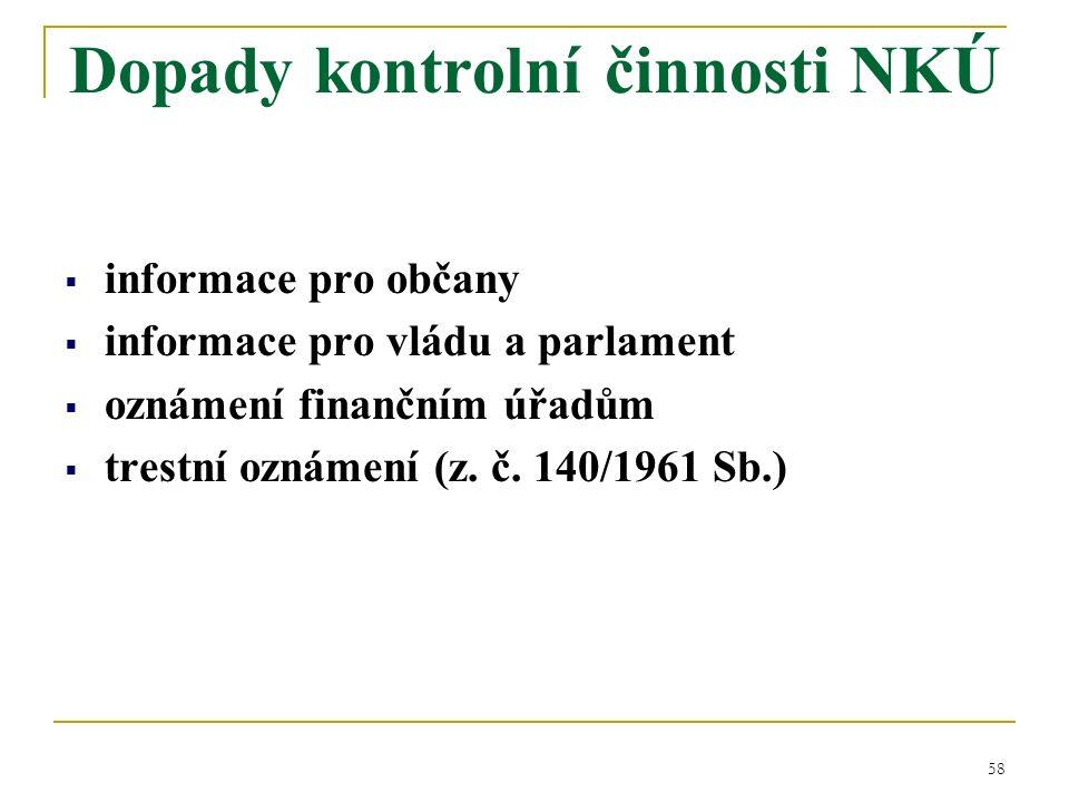 58  informace pro občany  informace pro vládu a parlament  oznámení finančním úřadům  trestní oznámení (z.