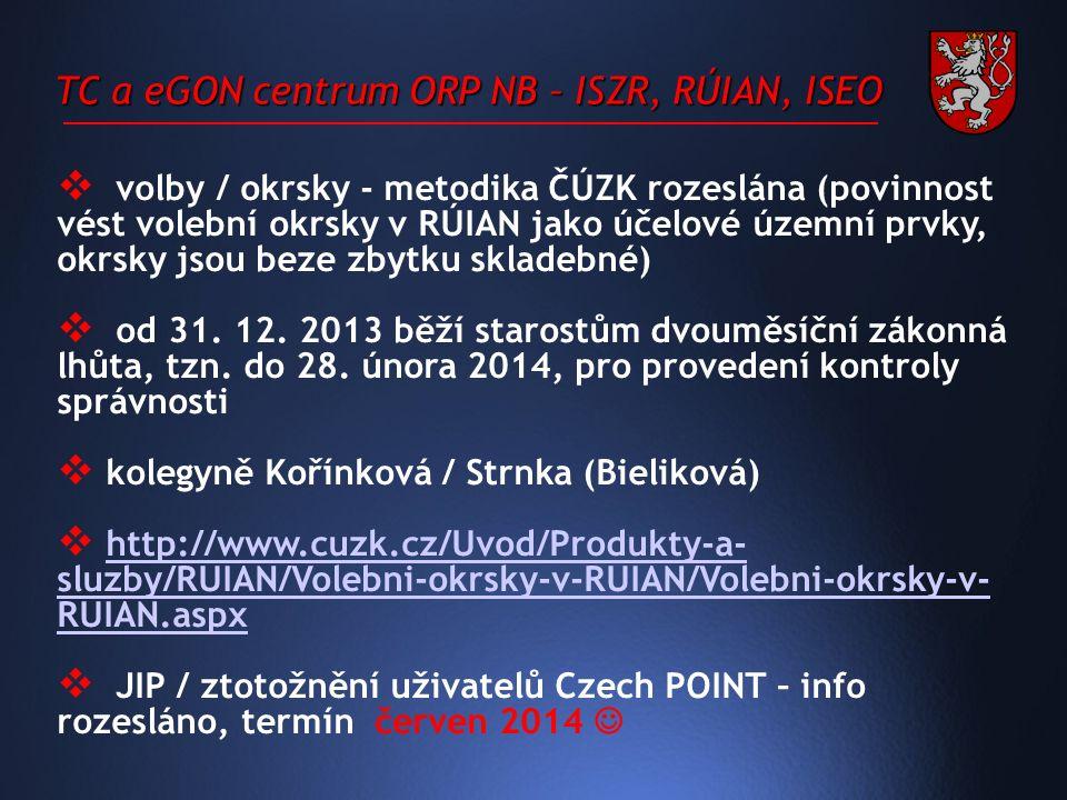 TC a eGON centrum ORP NB – ISZR, RÚIAN, ISEO  volby / okrsky - metodika ČÚZK rozeslána (povinnost vést volební okrsky v RÚIAN jako účelové územní prvky, okrsky jsou beze zbytku skladebné)  od 31.