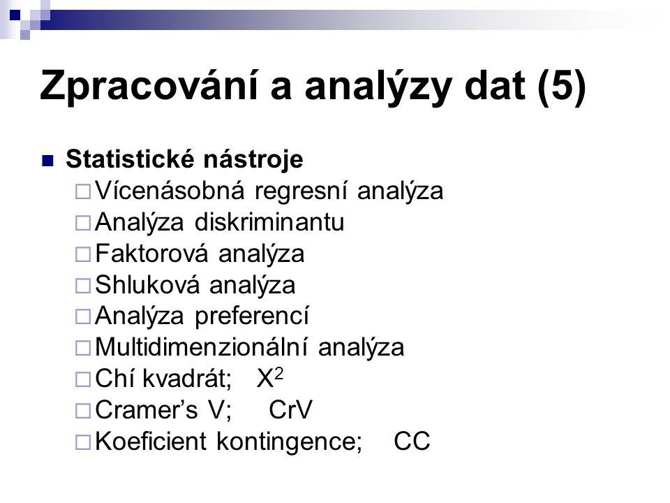 Zpracování a analýzy dat (5) Statistické nástroje  Vícenásobná regresní analýza  Analýza diskriminantu  Faktorová analýza  Shluková analýza  Analýza preferencí  Multidimenzionální analýza  Chí kvadrát; X 2  Cramer's V; CrV  Koeficient kontingence; CC