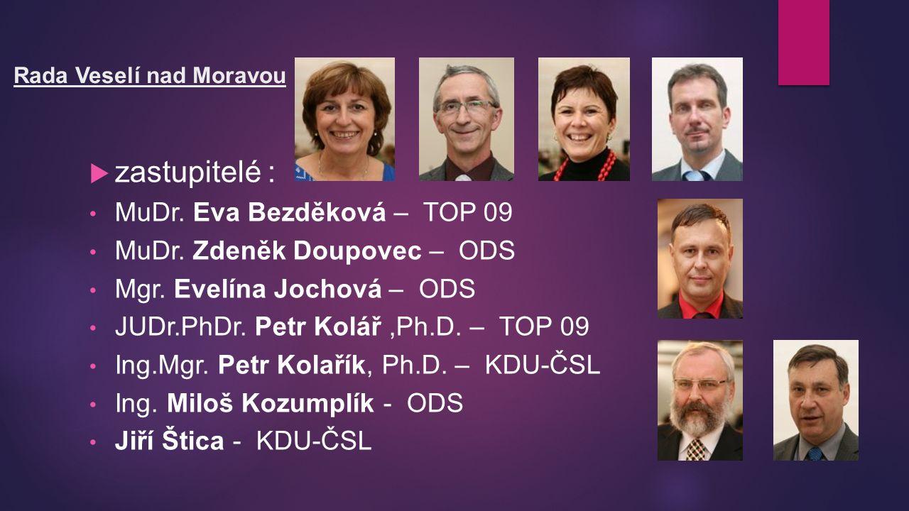 Rada Veselí nad Moravou  zastupitelé : MuDr. Eva Bezděková – TOP 09 MuDr.