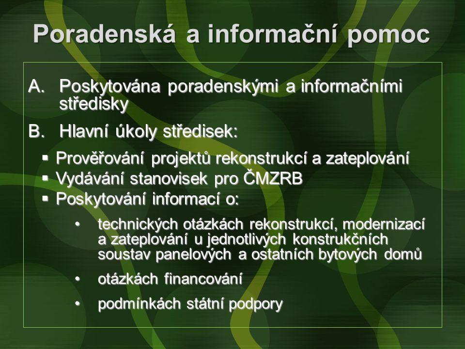 Poradenská a informační pomoc A.Poskytována poradenskými a informačními středisky B.Hlavní úkoly středisek:  Prověřování projektů rekonstrukcí a zate
