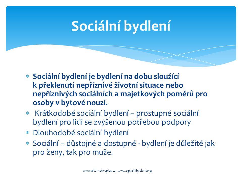  Sociální bydlení je bydlení na dobu sloužící k překlenutí nepříznivé životní situace nebo nepříznivých sociálních a majetkových poměrů pro osoby v bytové nouzi.