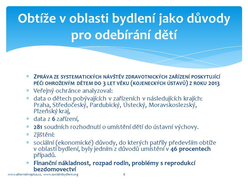  Z PRÁVA ZE SYSTEMATICKÝCH NÁVŠTĚV ZDRAVOTNICKÝCH ZAŘÍZENÍ POSKYTUJÍCÍ PÉČI OHROŽENÝM DĚTEM DO 3 LET VĚKU ( KOJENECKÝCH ÚSTAVŮ ) Z ROKU 2013  Veřejný ochránce analyzoval:  data o dětech pobývajících v zařízeních v následujících krajích: Praha, Středočeský, Pardubický, Ústecký, Moravskoslezský, Plzeňský kraj,  data z 6 zařízení,  281 soudních rozhodnutí o umístění dětí do ústavní výchovy.