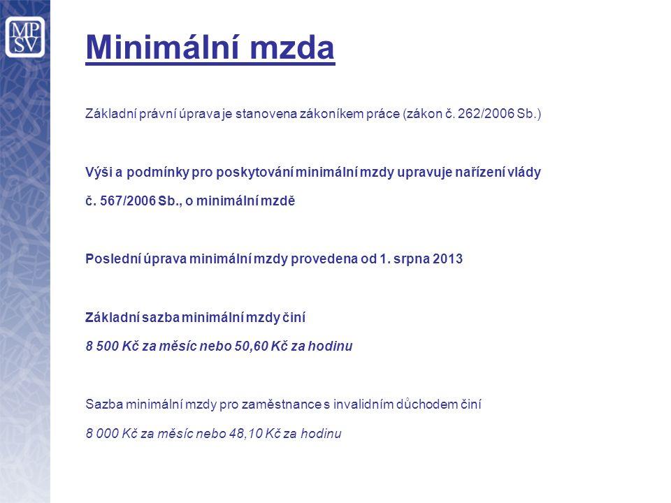Minimální mzda Základní právní úprava je stanovena zákoníkem práce (zákon č. 262/2006 Sb.) Výši a podmínky pro poskytování minimální mzdy upravuje nař