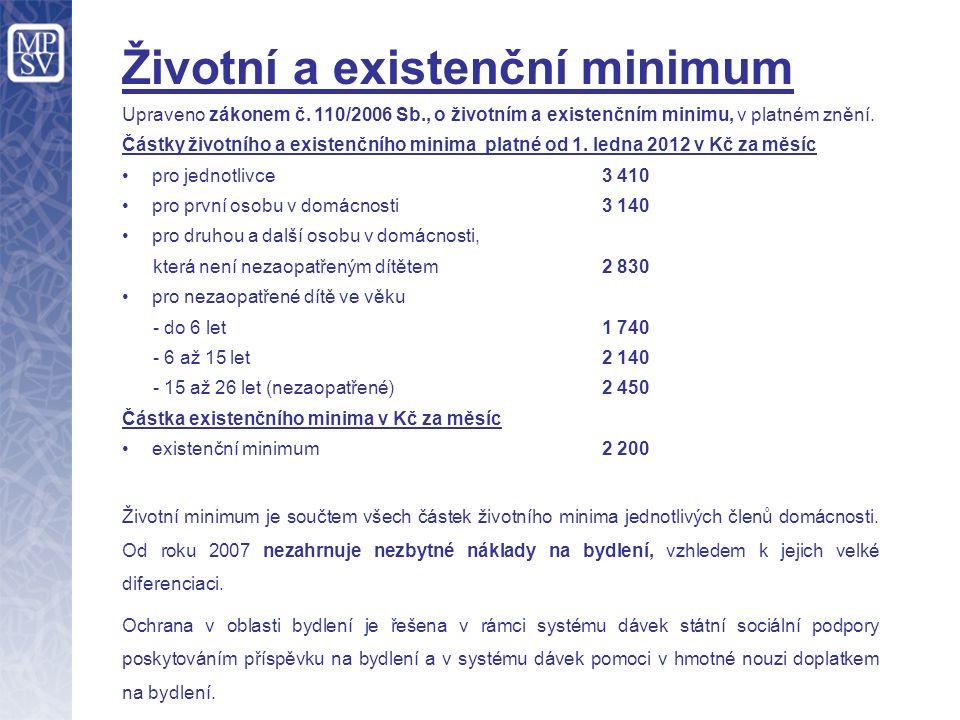 Životní a existenční minimum Upraveno zákonem č. 110/2006 Sb., o životním a existenčním minimu, v platném znění. Částky životního a existenčního minim