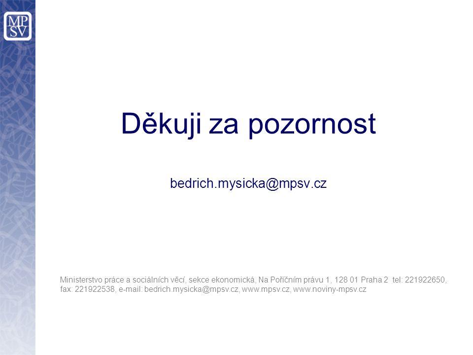 Děkuji za pozornost bedrich.mysicka@mpsv.cz Ministerstvo práce a sociálních věcí, sekce ekonomická, Na Poříčním právu 1, 128 01 Praha 2 tel: 221922650, fax: 221922538, e-mail: bedrich.mysicka@mpsv.cz, www.mpsv.cz, www.noviny-mpsv.cz