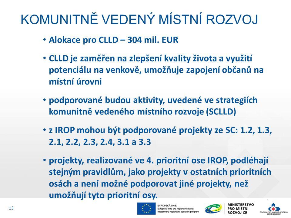 Alokace pro CLLD – 304 mil. EUR CLLD je zaměřen na zlepšení kvality života a využití potenciálu na venkově, umožňuje zapojení občanů na místní úrovni