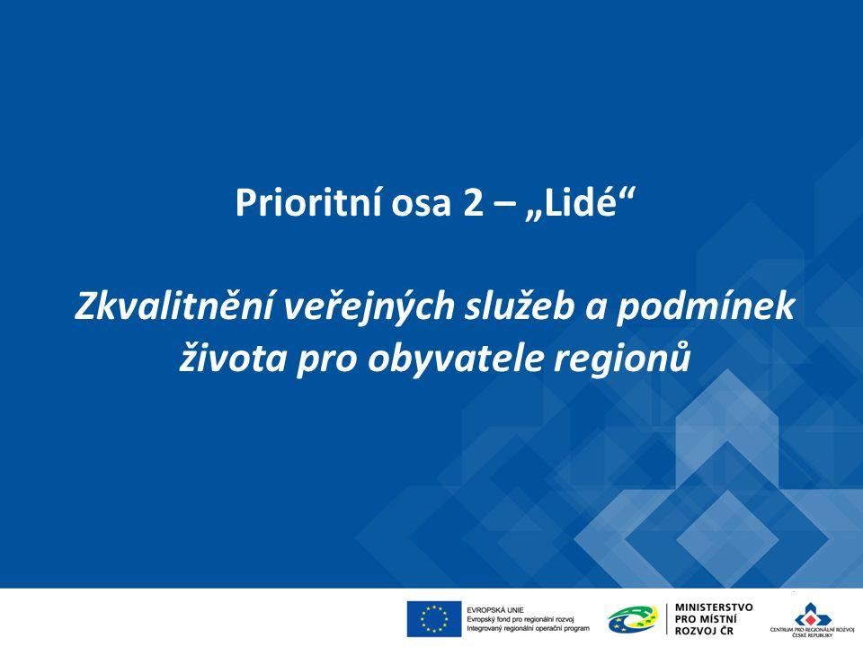 """Prioritní osa 2 – """"Lidé Zkvalitnění veřejných služeb a podmínek života pro obyvatele regionů"""
