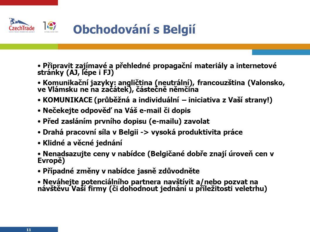 11 Obchodování s Belgií Připravit zajímavé a přehledné propagační materiály a internetové stránky (AJ, lépe i FJ) Komunikační jazyky: angličtina (neutrální), francouzština (Valonsko, ve Vlámsku ne na začátek), částečně němčina KOMUNIKACE (průběžná a individuální – iniciativa z Vaší strany!) Nečekejte odpověď na Váš e-mail či dopis Před zasláním prvního dopisu (e-mailu) zavolat Drahá pracovní síla v Belgii -> vysoká produktivita práce Klidné a věcné jednání Nenadsazujte ceny v nabídce (Belgičané dobře znají úroveň cen v Evropě) Případné změny v nabídce jasně zdůvodněte Neváhejte potenciálního partnera navštívit a/nebo pozvat na návštěvu Vaší firmy (či dohodnout jednání u příležitosti veletrhu)