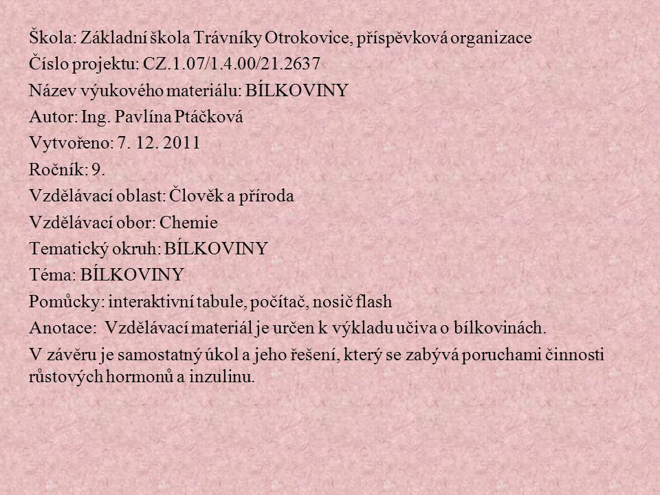 Škola: Základní škola Trávníky Otrokovice, příspěvková organizace Číslo projektu: CZ.1.07/1.4.00/21.2637 Název výukového materiálu: BÍLKOVINY Autor: I