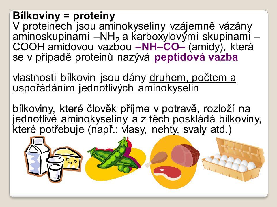 Bílkoviny = proteiny V proteinech jsou aminokyseliny vzájemně vázány aminoskupinami –NH 2 a karboxylovými skupinami – COOH amidovou vazbou –NH–CO– (am