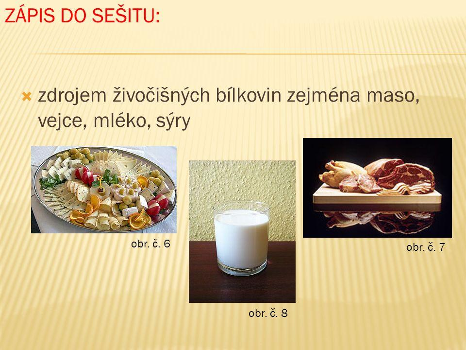  zdrojem živočišných bílkovin zejména maso, vejce, mléko, sýry ZÁPIS DO SEŠITU: obr.