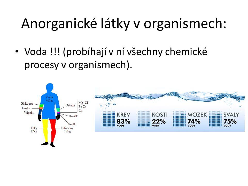 Anorganické látky v organismech: Voda !!! (probíhají v ní všechny chemické procesy v organismech).