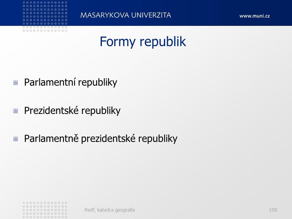 PedF, katedra geografie109 Formy republik Parlamentní republiky Prezidentské republiky Parlamentně prezidentské republiky