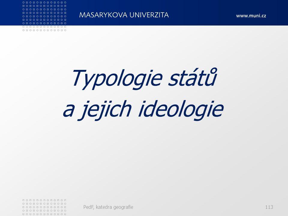 PedF, katedra geografie113 Typologie států a jejich ideologie
