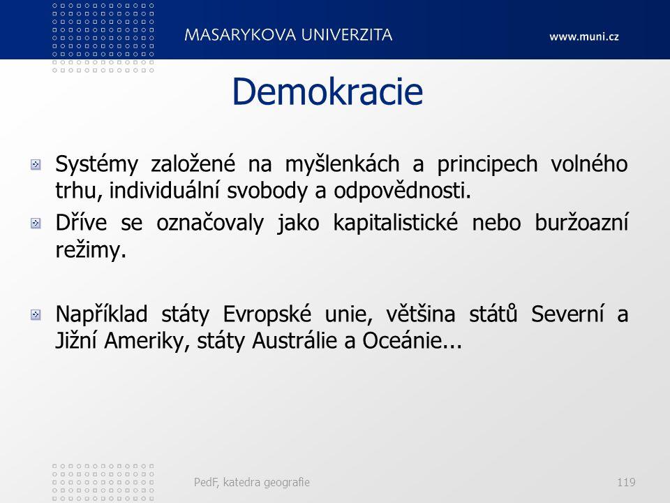 PedF, katedra geografie119 Demokracie Systémy založené na myšlenkách a principech volného trhu, individuální svobody a odpovědnosti.