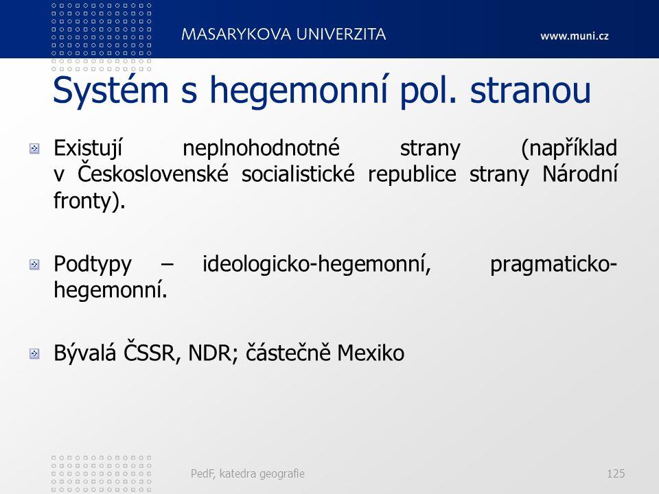 PedF, katedra geografie125 Systém s hegemonní pol.