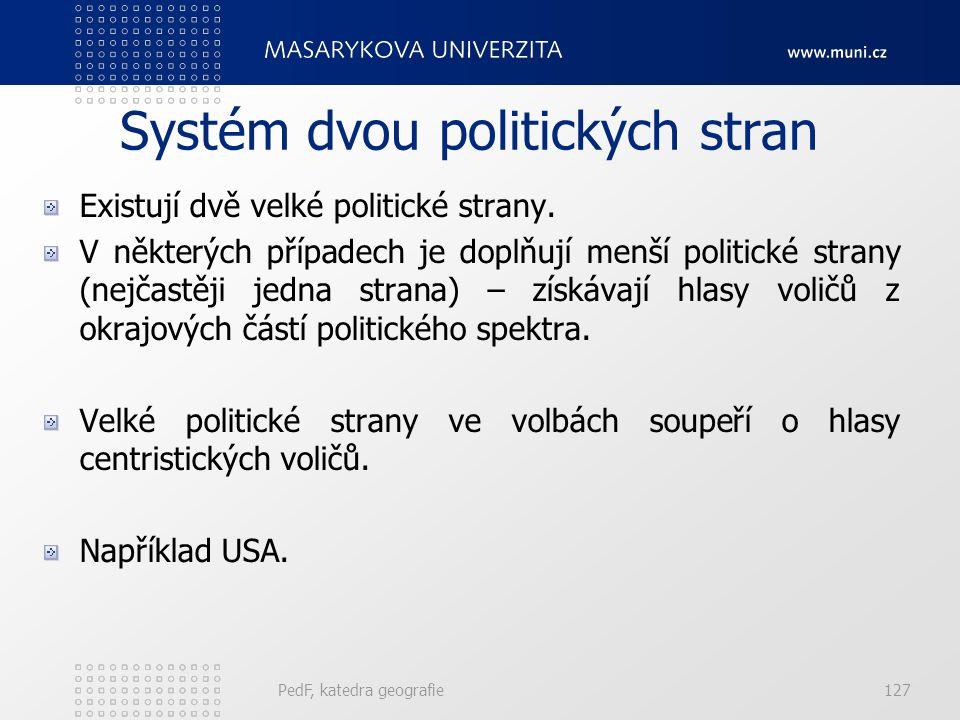 PedF, katedra geografie127 Systém dvou politických stran Existují dvě velké politické strany.