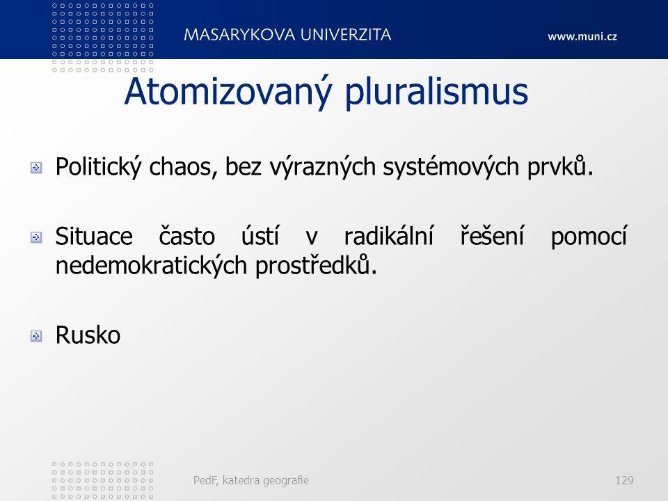 PedF, katedra geografie129 Atomizovaný pluralismus Politický chaos, bez výrazných systémových prvků.