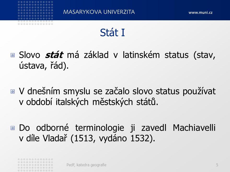 PedF, katedra geografie5 Stát I Slovo stát má základ v latinském status (stav, ústava, řád).