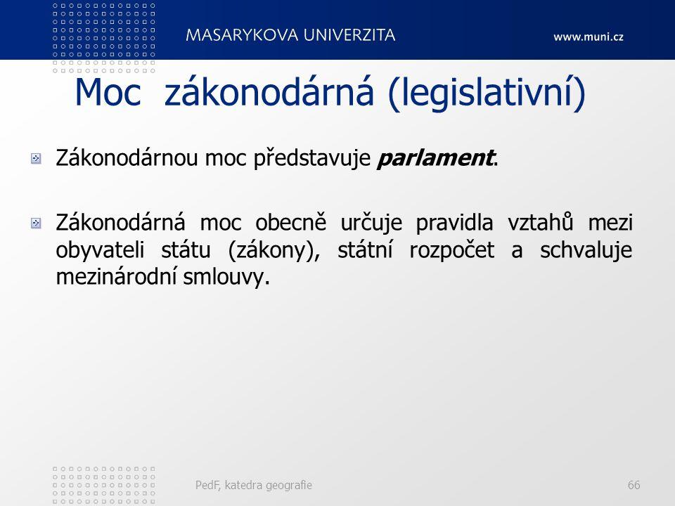 PedF, katedra geografie66 Moc zákonodárná (legislativní) Zákonodárnou moc představuje parlament.
