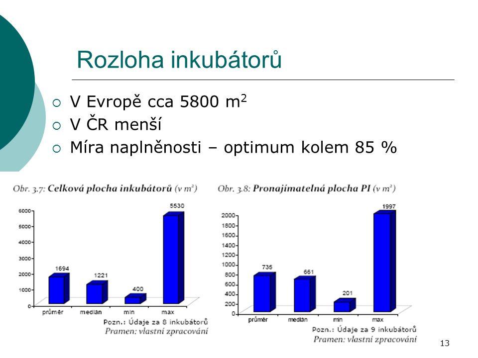Jaro 2010Inovační centra, inkubátory, VTP13 Rozloha inkubátorů  V Evropě cca 5800 m 2  V ČR menší  Míra naplněnosti – optimum kolem 85 %
