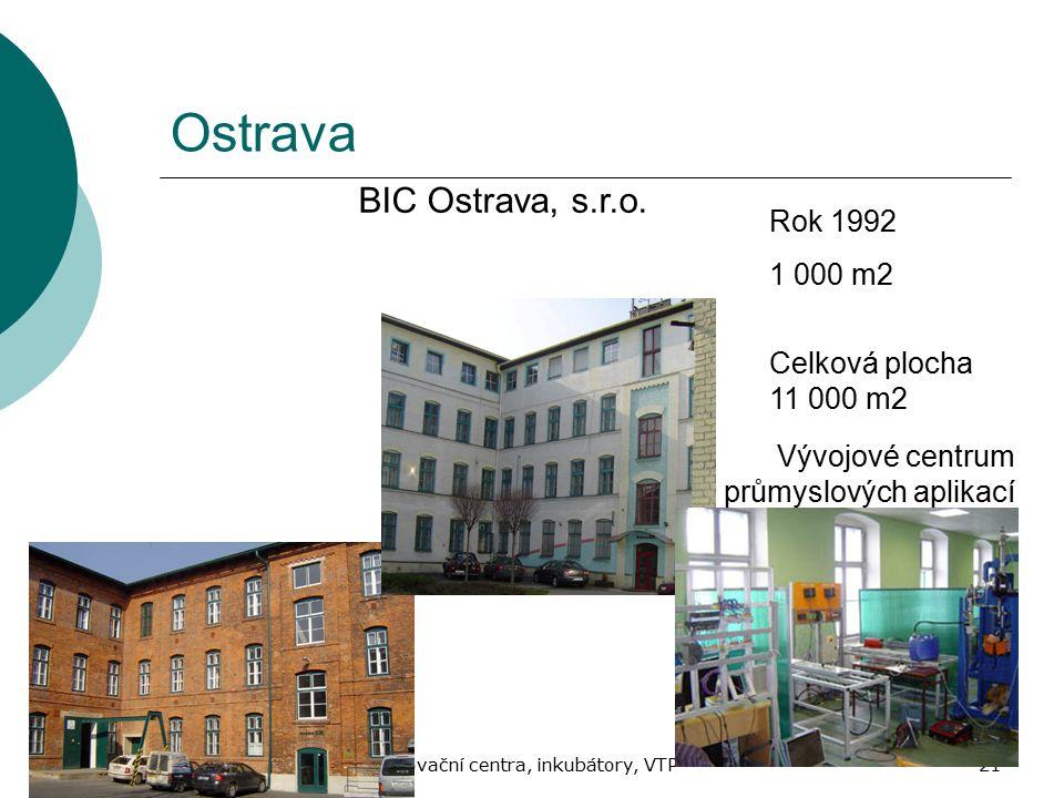 Jaro 2010Inovační centra, inkubátory, VTP21 Ostrava BIC Ostrava, s.r.o. Rok 1992 1 000 m2 Celková plocha 11 000 m2 Vývojové centrum průmyslových aplik