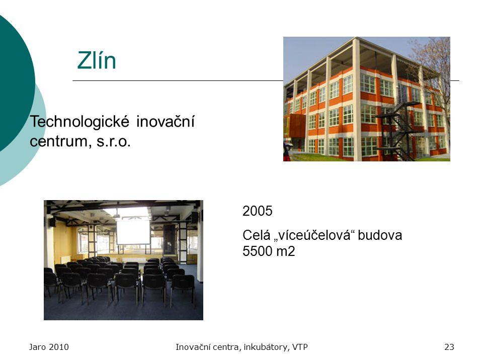 """Jaro 2010Inovační centra, inkubátory, VTP23 Zlín Technologické inovační centrum, s.r.o. 2005 Celá """"víceúčelová"""" budova 5500 m2"""